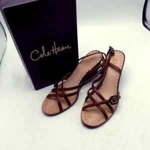 "Cole Haan Strappy 4"" Wedge Sandals IOB"